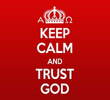 Religious Christian iPhone 4 Case Cover Keep Calm And Trust God Red by Lana Wynne