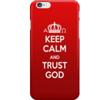 Religious Christian iPhone 4 Case Cover Keep Calm And Trust God Red iPhone Case/Skin
