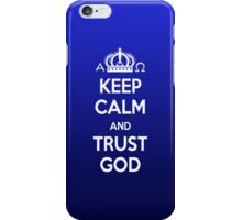 Religious Christian iPhone 4 Case Cover Keep Calm And Trust God Blue iPhone Case/Skin