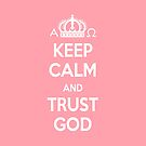 Religious Christian iPhone 4 Case Cover Keep Calm And Trust God Pink by Lana Wynne