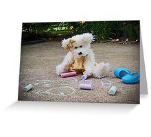 Winnie Surveys Her Chalk Drawings Greeting Card
