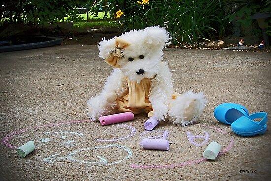 Winnie Surveys Her Chalk Drawings by Terri Chandler