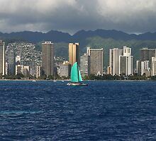 Catamaran off Waikiki by Melodee Scofield