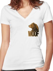 BEAR WOOF 2 Women's Fitted V-Neck T-Shirt