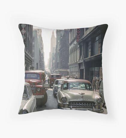 Little Collins Street traffic 19601100 0000 Throw Pillow