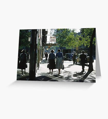 Collins street in morning beside Feltex shop 19570106 0000 Greeting Card