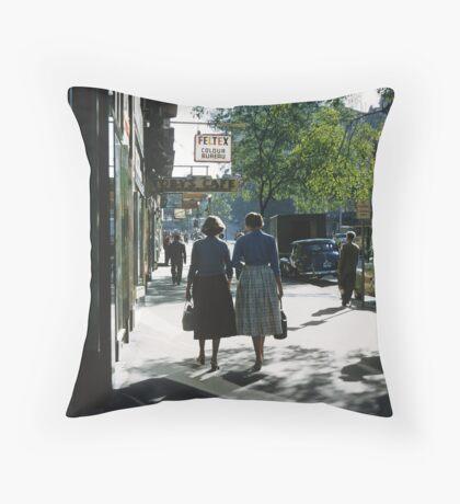 Collins street in morning beside Feltex shop 19570106 0000 Throw Pillow