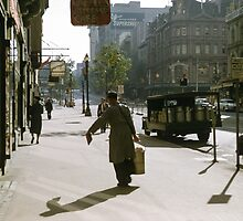 Milkman Collins Street 1958 by Fred Mitchell