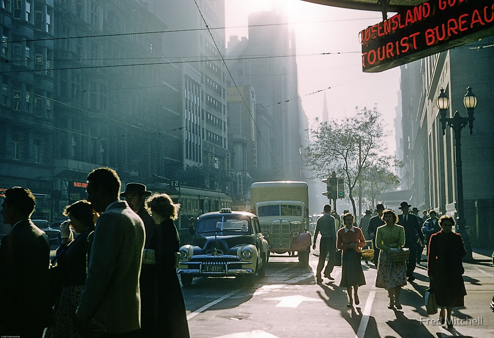 Cnr Collins Elizabeth Streets at end of shopping day 19570416 0001 by Fred Mitchell
