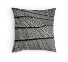 grey wooden shingle roof Throw Pillow