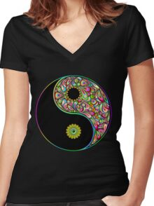 Yin Yang Symbol Psychedelic Art Design Women's Fitted V-Neck T-Shirt