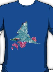 Bluebird and a Stem of Ceril Pink Orchid T-Shirt