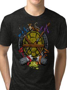 Turtle Family Crest - Full Color Tri-blend T-Shirt