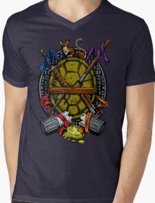 Turtle Family Crest - Full Color Mens V-Neck T-Shirt