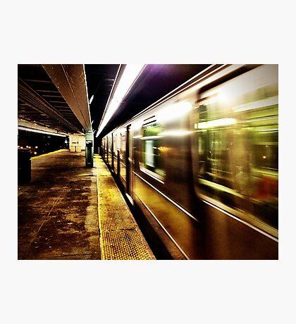 Elevated Subway at Night Photographic Print