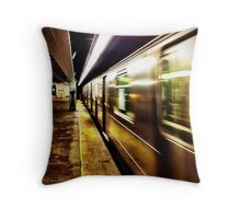 Elevated Subway at Night Throw Pillow