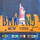 New York City Skyline License Plate Art NYC USA by designturnpike
