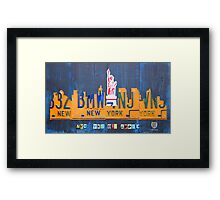 New York City Skyline License Plate Art NYC USA Framed Print