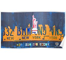 New York City Skyline License Plate Art NYC USA Poster