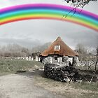 ancient rustic cottage with rainbow by morrbyte