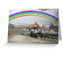 ancient rustic cottage with rainbow Greeting Card