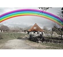 ancient rustic cottage with rainbow Photographic Print