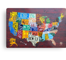 License Plate Map of The United States 2012 Edition 3 Metal Print