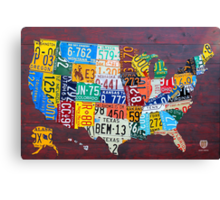 License Plate Map of The United States 2012 Edition 3 Canvas Print