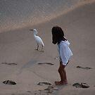 Girl And Heron - Muchacha Y Garza Blanca by Bernhard Matejka