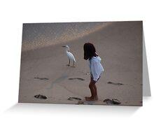 Girl And Heron - Muchacha Y Garza Blanca Greeting Card