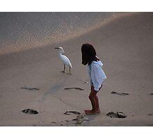 Girl And Heron - Muchacha Y Garza Blanca Photographic Print
