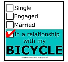In A Relationship With My Bicycle Photographic Print