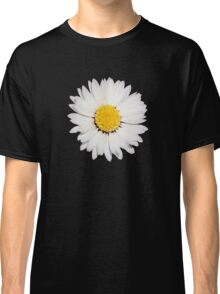 Top View of a White Daisy Isolated on Black Classic T-Shirt