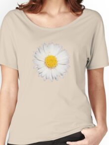 Top View of a White Daisy Isolated on Black Women's Relaxed Fit T-Shirt