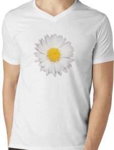 Top View of a White Daisy Isolated on Black Mens V-Neck T-Shirt