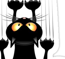 Black Cat Cartoon Scratching Wall Sticker