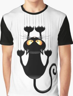 Black Cat Cartoon Scratching Wall Graphic T-Shirt