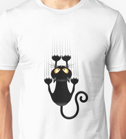 Black Cat Cartoon Scratching Wall Unisex T-Shirt