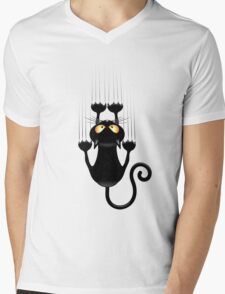 Black Cat Cartoon Scratching Wall Mens V-Neck T-Shirt