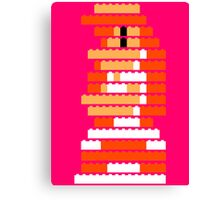 8-Bit Brick Peach Canvas Print