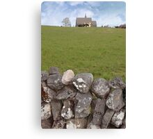 ballyvaughan old stone wall and church Canvas Print