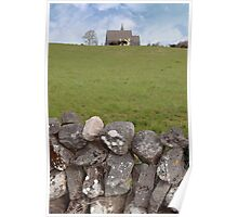 ballyvaughan old stone wall and church Poster