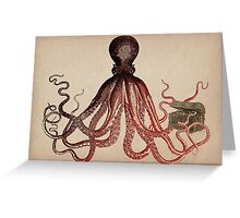 Vintage Octopus on Aged Parchment Greeting Card