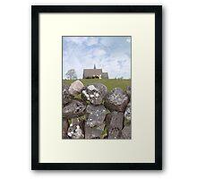 ballyvaughan stone wall and church Framed Print