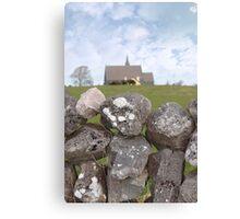 ballyvaughan stone wall and church Canvas Print