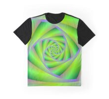 Green and Lilac Spiral Graphic T-Shirt