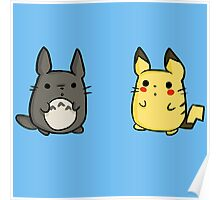 Totoro and Pikachu Poster