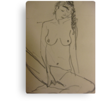 nude with a pigtail Canvas Print
