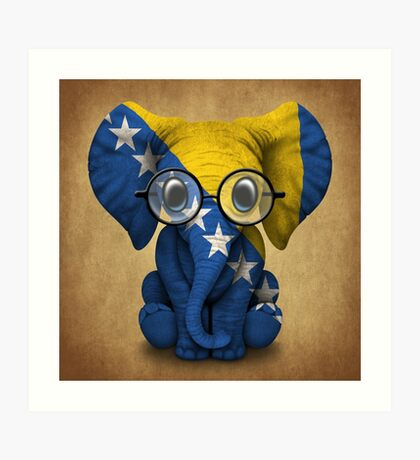 Baby Elephant with Glasses and Bosnian Flag Art Print