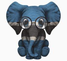 Baby Elephant with Glasses and Botswana Flag One Piece - Short Sleeve